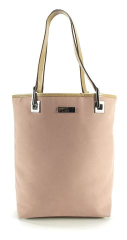 GUCCI Light Pink Biege Canvas Leather Trim Small Tote