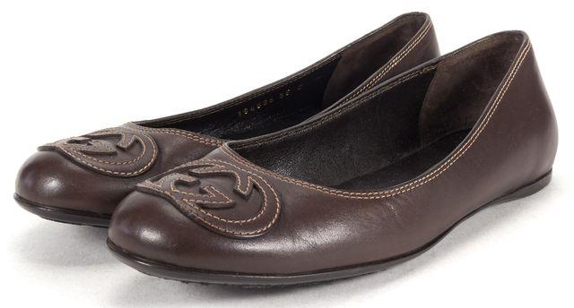 GUCCI Moca Brown Leather Lifford Ballet Flats