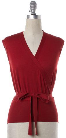 GUCCI Red Sleeveless Wrap Top