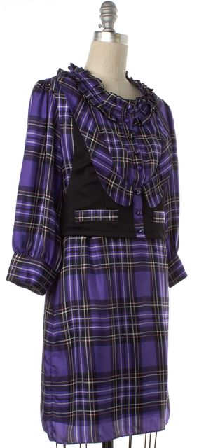 GUCCI Purple Plaids Silk Ruffled Shirt Dress