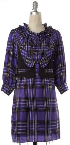 GUCCI Purple Plaids Silk Ruffled Shirt Dress