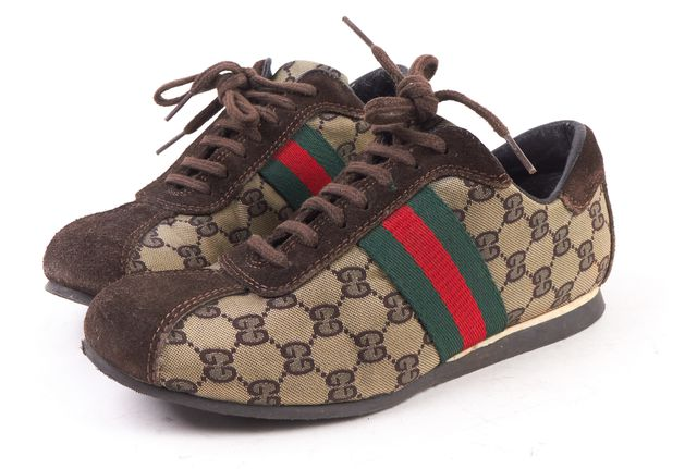 GUCCI Brown Canvas Suede GG Lace Up Sneakers