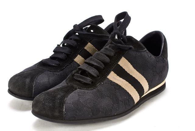 GUCCI Black Suede GG Monogram Canvas Sneakers