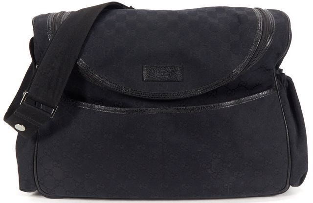 GUCCI Black GG Canvas Diaper Messenger Bag