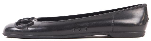 GUCCI Black Rubber Horsebit Flats