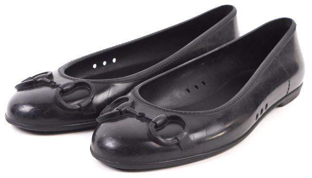 GUCCI Black Rubber Horsebit Flats