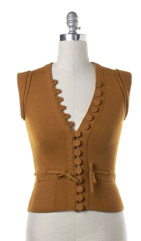GUCCI Mustard Wool Blend Button Front Vest