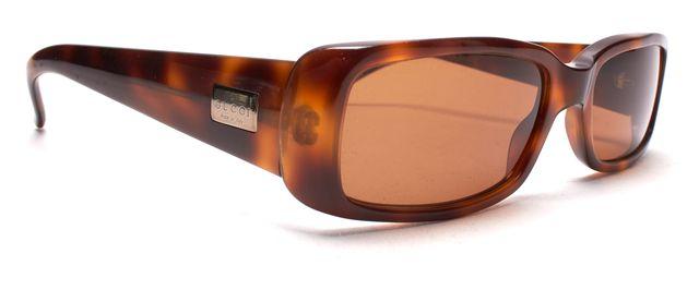 GUCCI Brown Tortoise Shell Acetate Frame Rectangular Sunglasses