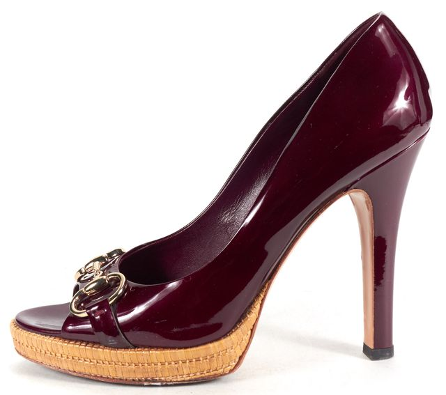 GUCCI Burgundy Red Patent Leather Peep Toe Horsebit Pumps
