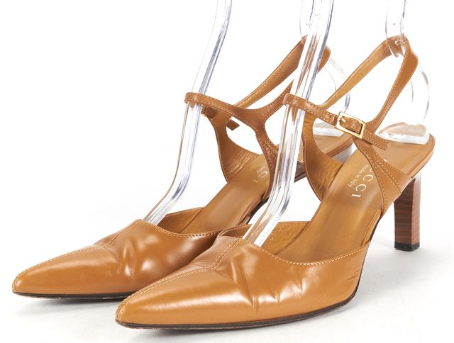 GUCCI Tan Brown Leather Pointed Toe Sling Back Heels