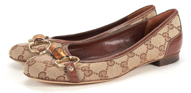 GUCCI Brown Monogram Leather Trim Bamboo Embellished Flats