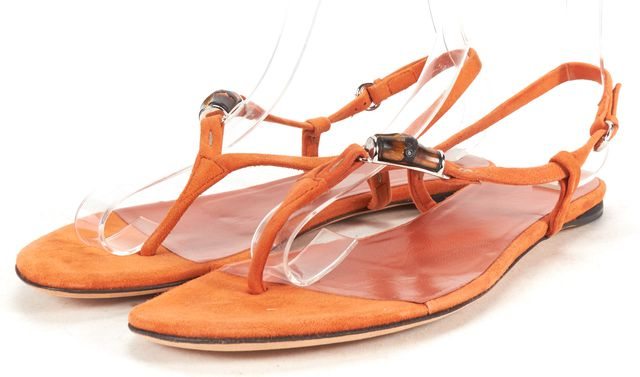 GUCCI Orange Suede Bamboo Embellished Thong Sandals