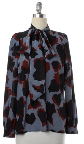 GUCCI Blue Brown Black Abstract Silk Pussy Bow Button Down Shirt