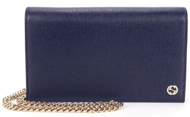 GUCCI Navy Blue Textured Leather Betty Chain Wallet Crossbody Bag