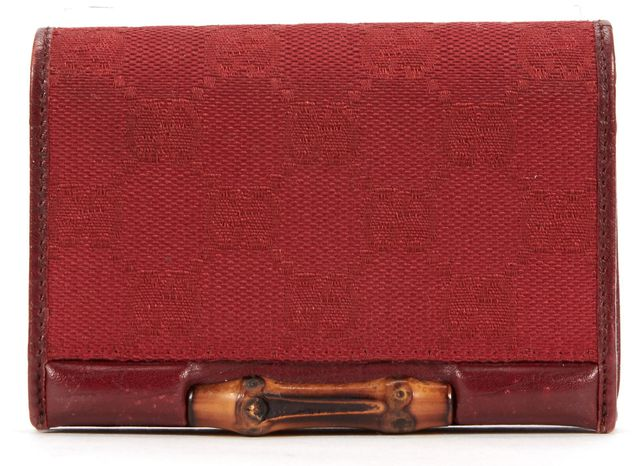 GUCCI Red GG Monogram Canvas Bamboo Card Case Wallet