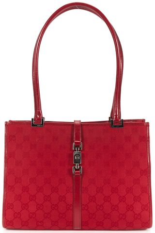 GUCCI Red GG Monogram Canvas Jackie Tote Bag