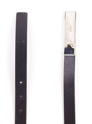 GUCCI Black Skinny Leather Belt