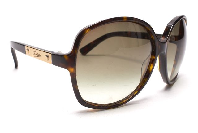 GUCCI Brown Tortoise Acetate Frame Sunglasses