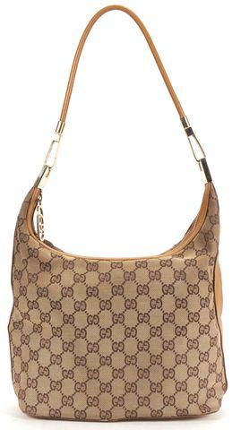 GUCCI Beige Monogram Canvas Leather Shoulder Bag