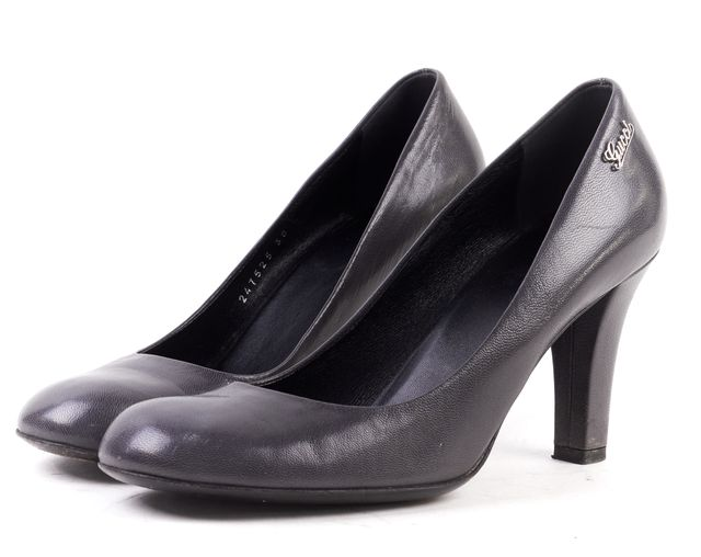 GUCCI Gray Leather Round Toe Pump Heels