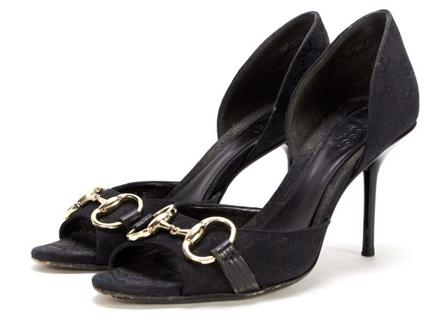 GUCCI Black GG Canvas Gold Horsebit Open Toe Heels