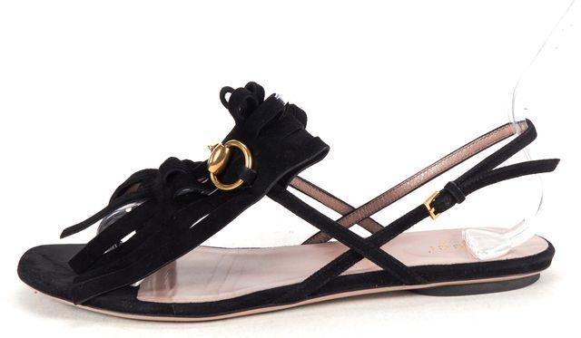 GUCCI Black Suede Fringe Horsebit Slingback T-Strap Sandals