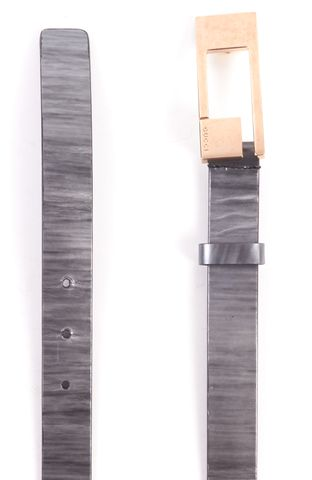 GUCCI Silver Striped Pewter Leather Belt