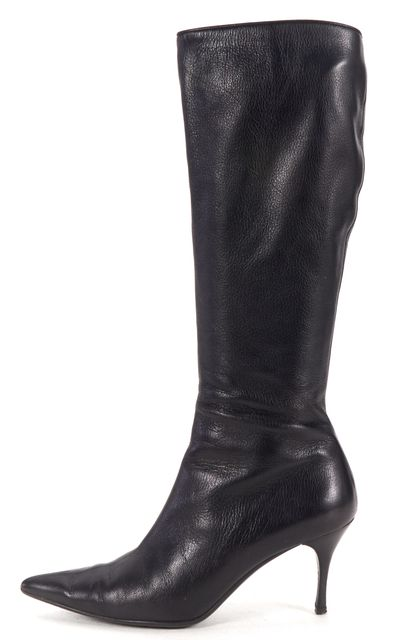 GUCCI Black Leather Pointed Low Heel Knee High Boots