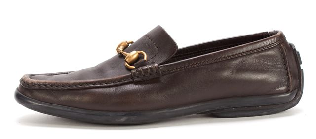 GUCCI Brown Leather Horsebit Driving Loafers