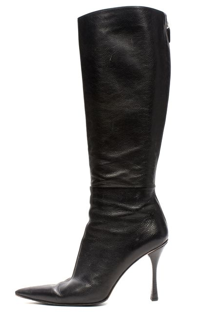 GUCCI Black Leather Zip Back Heel Knee High Boots