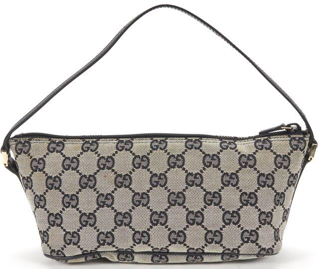 GUCCI Black Gray Canvas Clutch Handbag