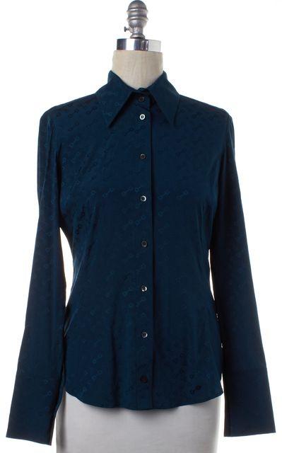 GUCCI Teal Green Silk Button Down Shirt