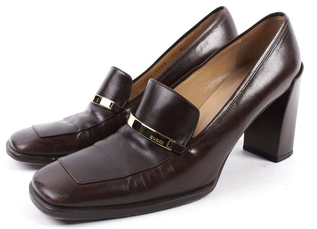 GUCCI Brown Leather Loafer Block Heels