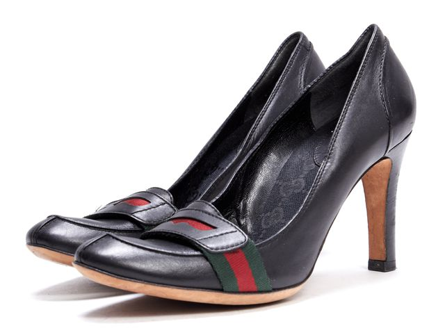 GUCCI Black Green Red Strap Leather Loafer Pumps