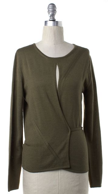 GUCCI Olive Green Knit Wrap Sweater