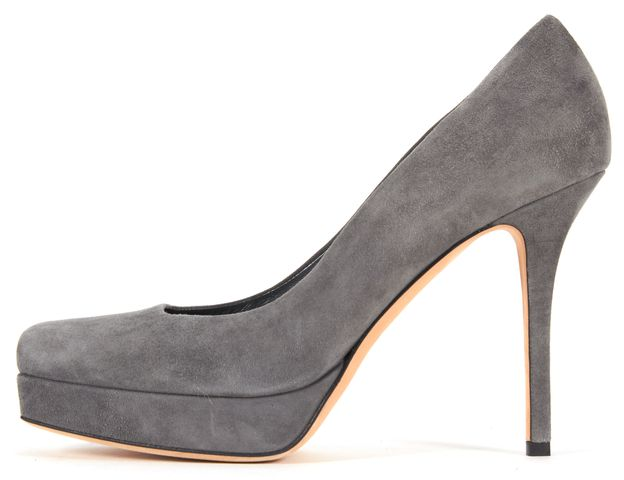 GUCCI Gray Suede Square Toe Platform Pumps