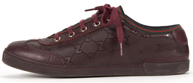 GUCCI Dark Wine Leather Rubber Combo GG Low Top Sneakers