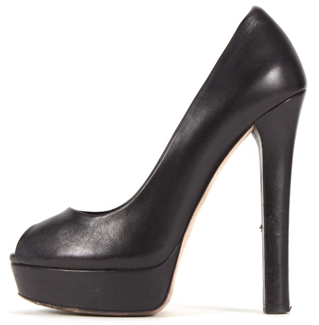 GUCCI Black Leather Peep Toe Platform Pumps