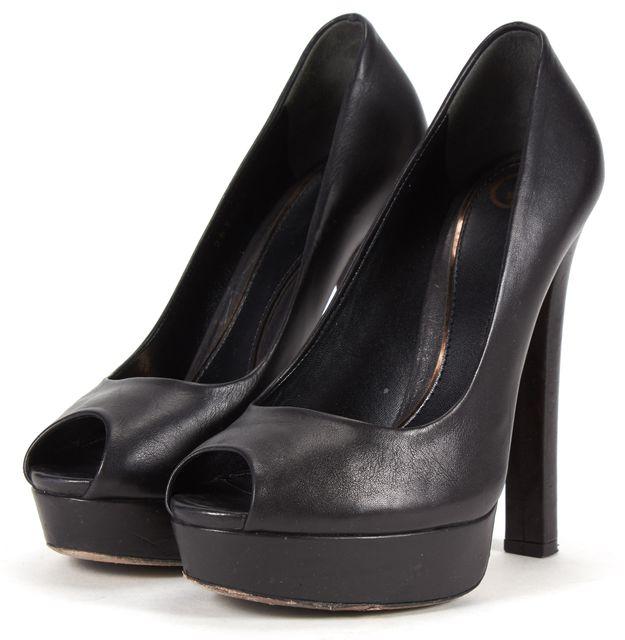 GUCCI Black Leather Peep Toe Platform Pumps