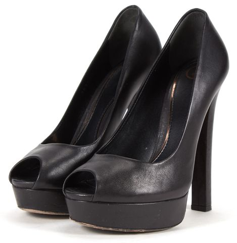 GUCCI Black Leather Wedge Peep Toe Pumps