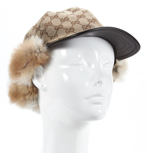 GUCCI Brown GG Monogram Canvas Leather Trim Fur Ear Warmer Cap
