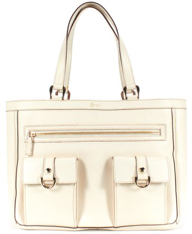 GUCCI White Texture Leather Gold Tone Hardware Tote Bag