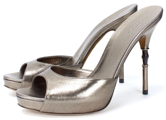GUCCI Silver Metallic Leather Open Toe Bamboo Heel Pumps