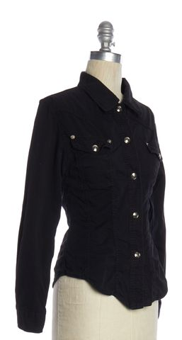 GUCCI Black Cotton Fitted Western Button Down Top