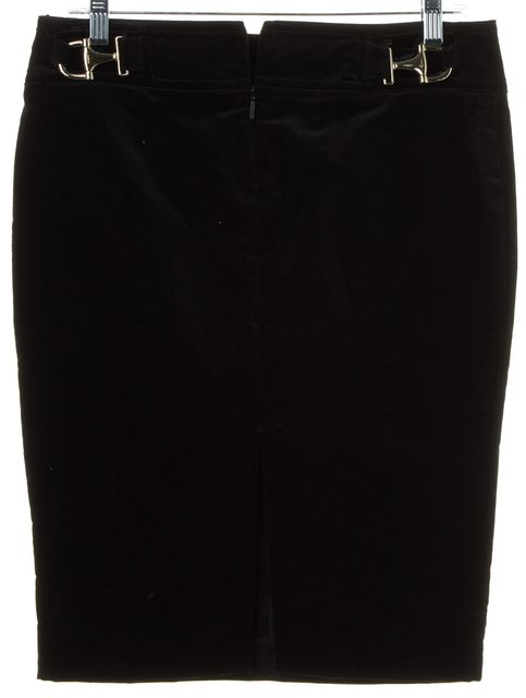 GUCCI Black Velvet Horsebit Pencil Skirt