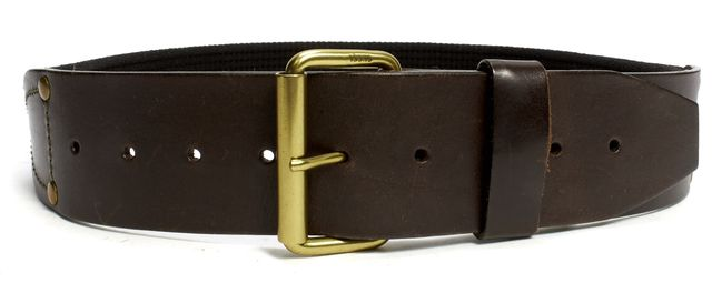 GUCCI Brown Leather Canvas Wide Belt