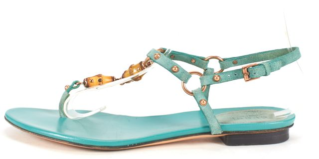 GUCCI Turquoise Suede Leather Bamboo Embellished Sandals