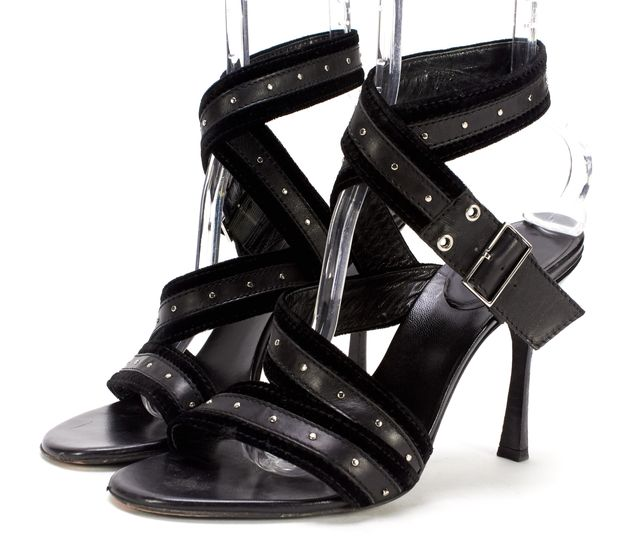 GUCCI Black Leather Velvet Trim Studded Sandals