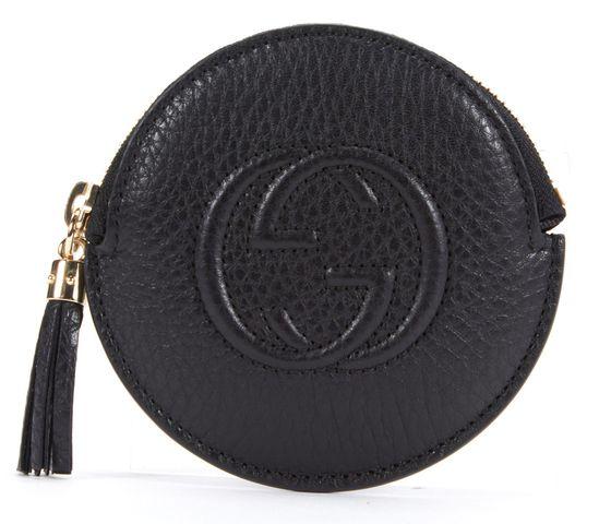 GUCCI Black Leather Tassel Zip Around Round Coin Purse