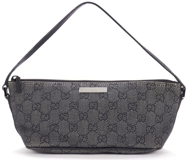 GUCCI Black Gray Monogram Canvas Pouch Shoulder Bag